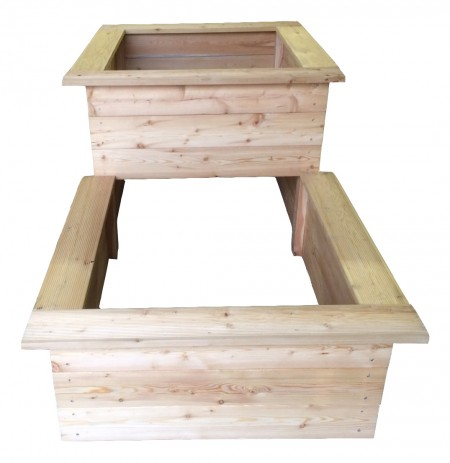 2 stufen hochbeet aus l rchenholz zur selbstmontage. Black Bedroom Furniture Sets. Home Design Ideas